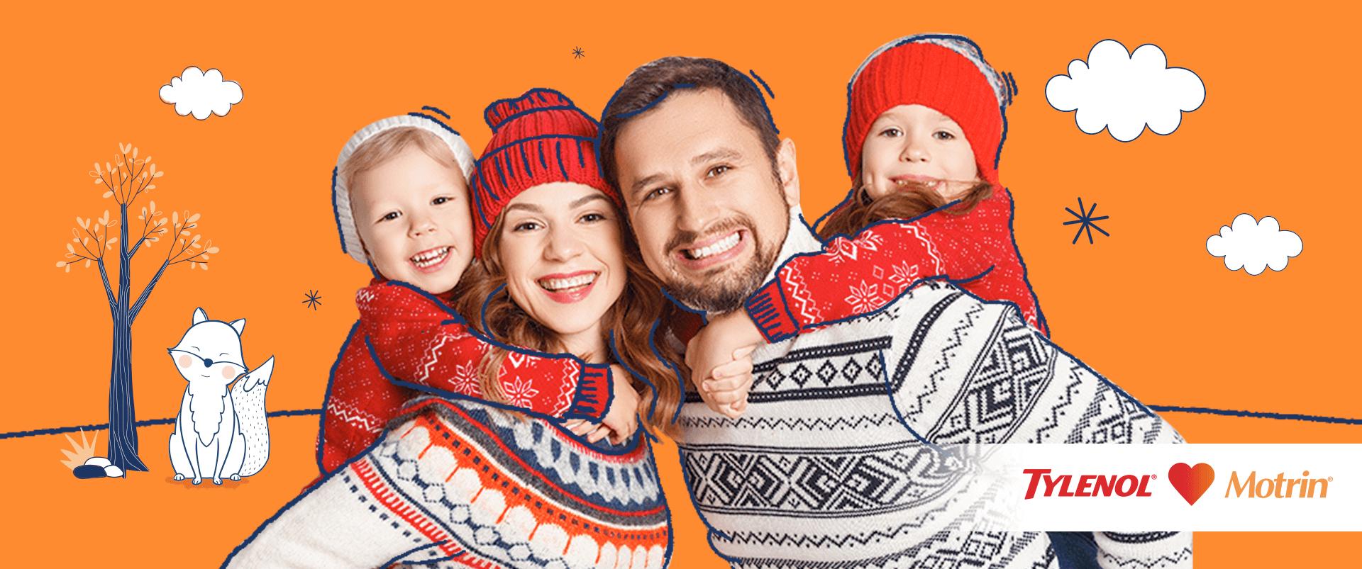Familia abrigada y feliz disfrutando del invierno