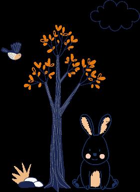 decoracion conejo y arbol